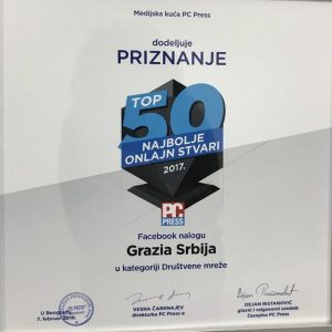 GRAZIA SERBIA AMONG TOP 5 SOCIAL NETWORKS PAGE IN THE COUNTRY