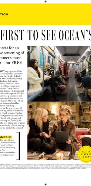 Exclusive Ocean's 8 preview with Grazia